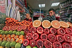 Stand in the Galata neighborhood of Istanbul, Turkey offers fresh squeezed juice from local fruits