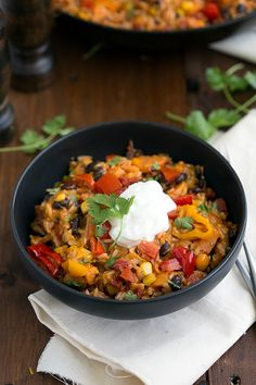 A one-skillet 30-minute sweet potato burrito bowl.  Prep veggies before, serve with ground beef.