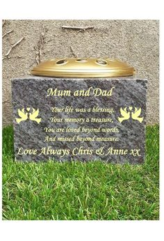 Grave Memorial Vase Cemetery vase Grave ornament Grave Rosebowl Granite rosebowl £75.00 Cemetery Vases, Baby Footprints, Bahama Blue, Garden Markers, Pot Lids, Rose Bowl, Grave Memorials, A Blessing, Love Words