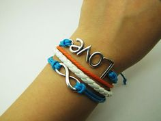 Blue Rope and White Leather Steampunk Bracelet by sevenvsxiao, $6.59