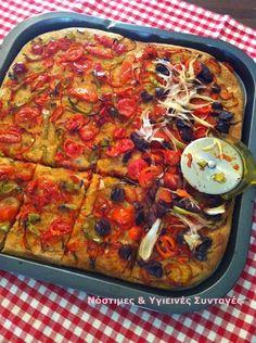 Λαδένια, η πίτσα με λαχανικά χωρίς τυρί - Miss Healthy Living Greek Recipes, Vegetable Pizza, Healthy Living, Yummy Food, Bread, Vegan, Cooking, Pie, Foods
