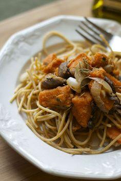 Rosemary Sweet Potato & Mushroom Pasta #vegan