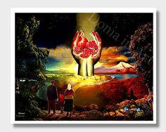 Armenian Pomegranate Art Wall Decor Pomegranate Art by DoniainArt