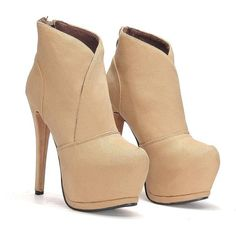 Yoins Yoins Zip Back Suede High Heels ($49) ❤ liked on Polyvore featuring shoes, boots, ankle booties, heels, booties, heeled booties, pointy booties, high heel booties, almond toe boots and heeled boots