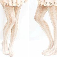 Lolita butterfly pattern fishnet tights -creamy white