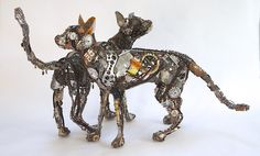'Fishoek' and 'A Cat called Anchovy' felines from recycled materials