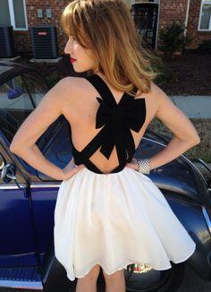 Black White Bow Back Dress #swoonboutique