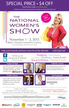Toronto commoncents National Womens Show Ticket Giveaway and Promo Code Girl Day, Organic Skin Care, Some Fun, Giveaways, Ticket, The Balm, Connect, Toronto, Things To Do