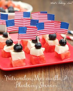 Watermelon, Mozzarella, and Blueberry Skewers. A great appetizer for the 4th of July that combines watermelon, mozzarella, and blueberry skewers that are drizzled with balsamic vinaigrette and sea salt. #appetizer #4thofJuly