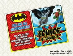 Digyparty's Shop - Lego BATMAN Birthday Party Invitation - DIY Printable - on CraftIsArt