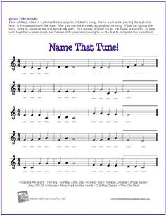 Name That Tune! (Treble Clef) | Free Note Name Worksheet | Each musical phase is a phrase from a popular children's song. Great fun for the music classroom, as kids work together in pairs (each pair has an Orff xylophone) racing to be the first to complete the worksheet!