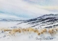 "Landscapes – Christy Sheeler Art:  ""Restoring in Solitude"" 5""x7"" Watercolor Original Artwork, Winter location with pale sky and trees, snow covered hills.  Soft and loose watercolor technique.  Calm and quiet effect on viewer.  Art website with watercolor landscapes and florals by Christy Sheeler.  Pin now and shop later!"