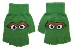 Sesame Street Oscar The Grouch Cartoon TV Show Kids Fingerless Gloves