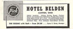 Hotel Belden Canton Ohio Pick Hotel 200 Rooms w Bath 1956 Travel Tourism AD