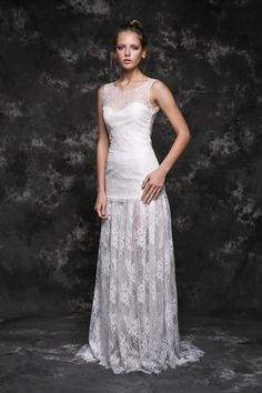 Pureza Mello Breyner Atelier - modern french lace bride dress #bride #modern #lace #cotton #silk #romantic #bridal #dress #designer #satin #handmade #by #measure #poppy #delevingne #wedding