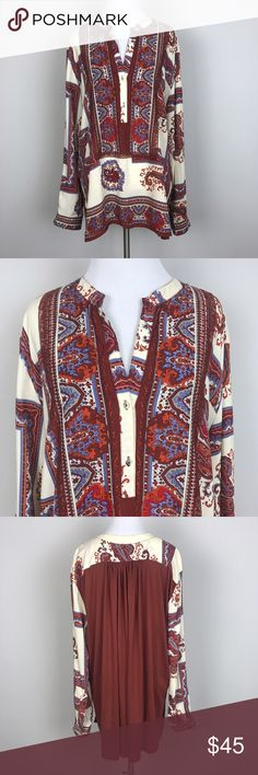 """[Anthropologie] Nahara Tunic Top Paisley Print L Long sleeve Paisley print pullover top. Henley button placket. Button cuffs. Contrast knit back panel. High low hem. Loose fit. By TINY from Anthropologie.  🔹Pit to Pit: 23"""" 🔹Length: 27"""" - 30"""" 🔹Condition: Excellent pre-owned condition.  *QQ47 Anthropologie Tops Blouses"""