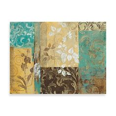 Individually hand embellished by professional artists, this extra-large botanical wall artwork features a transitional design inspired by textiles and European fabrics. Giclee printed on 100% cotton canvas. Measures 30 x 40.
