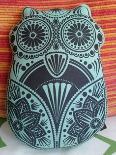 Owl Pillow Cushion Plush Toy Screen Printed Sugar by liwbanks