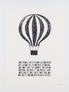 Flugballong poster Muumuru by hemmahosEKBERG Muumurus alla posters ?r tryckta i Finland p? Storlek: cm x 42 cm. Life Poster, Modern Home Interior Design, Helsinki, Cool Words, The Dreamers, Balloons, Letters, Lifestyle, Home Decor