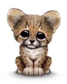 Cheetah Print featuring the digital art Cute Baby Cheetah Cub by Jeff Bartels