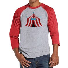 Circus Shirt - Mens Carnival Top - Circus Tent Shirt - Red Raglan Shirt - Men's Shirt - Carnival Birthday Party Outfit - Carnival Party