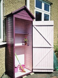My newly painted sentry box shed in outside garden shades Summer Damson and inside Amelia's Sunlounger Small Garden Tool Shed, Garden Storage Shed, Garden Sheds, Pink Garden, Shade Garden, Backyard Projects, Garden Projects, Painted Shed, Greenhouse Shed