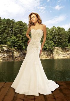 OMG PERF mermaid sweetheart zipper back applique Pleated wedding dress - Gopromdress.co.uk