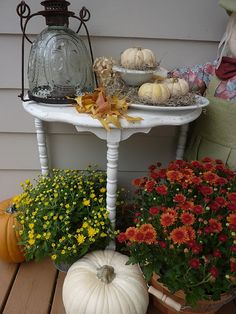 fall on the porch.. love the white table