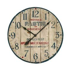 """Pastis"" Rustic Solid Timber Wall Clock -  no link, cool clock though"