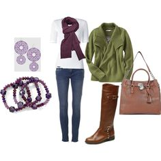 perfect fall outfit - boots, green cardi, purple accessories, love it