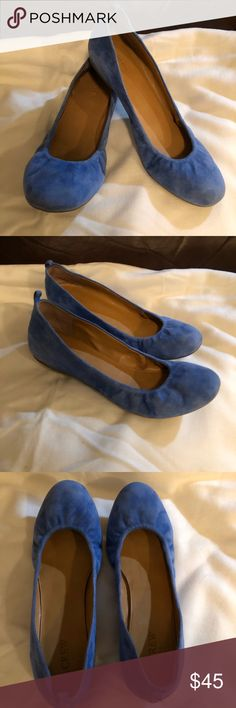 J Crew Blue suede shoes J Crew Blue suede ballet flats. Size 8. Excellent condition. J. Crew Shoes Flats & Loafers