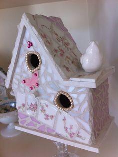 Shabby Cottage Bird House, Mosaic Birdhouse