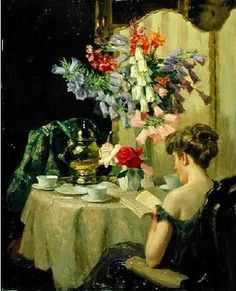 ✉ Biblio Beauties ✉ paintings of women reading letters & books - Robert Emil Stübner | Tea Time, c. 1910