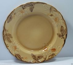 Cafe Royal Franciscan Dinner Plate Dish Earthenware Raised Flowers Brown Leaves  #Franciscan