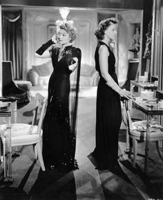 """Gowns by Adrian! - Constance Bennett and Greta Garbo in """"Two-Faced Women"""" 1941. This would be Adrian and Garbo's last film together at MGM."""