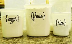 Custom Canister Labels- Set of 8 - personalized, choose your font, pantry, kitchen, flour, sugar. $10.00, via Etsy.