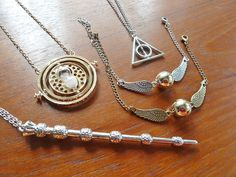 Flying Golden Snitch Pendant Necklace Harry Potter by JustinePaige