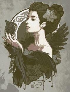 Nouveau, illustration by Willy Gómez - Ego - AlterEgo Beautiful Dark Art, Art Drawings Sketches Simple, Dark Fantasy Art, Mural Art, Portrait Art, Vector Art, Design Art, Concept Art, Illustration Art