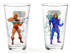 The Masters Of The Universe glass set has 4 glasses printed with Teela, Beastman, He-Man, and Skeletor.
