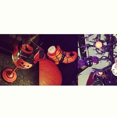 Some new Halloween items I recently picked up! =D #crazyhalloweenlady #ilovehalloween #halloweendecor #halloween #wineglass #bats #pumpkin #witchesshoe #candleholder #halloweentree #bat #ornament