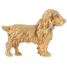 Ruby Diamond Gold Spaniel Dog Brooch | From a unique collection of vintage brooches at https://www.1stdibs.com/jewelry/brooches/brooches/