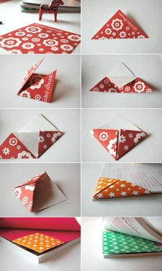 Origami Triangle Bookmark Folding Instructions