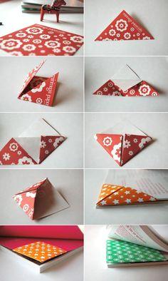 Origami Triangle Bookmark Folding Instructions