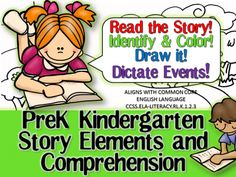 PreK Kindergarten Story Elements and Comprehension from RFTS PreK-Kindergarten on TeachersNotebook.com -  (25 pages)  - PreK Kindergarten Story Elements and Comprehension 25 pages  This 'Read the Story' pack includes 10 original shorty stories to read and enjoy!  Children can read the story. Discover and color the story elements. Number the events in order presented in the