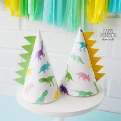 Dino Party hats for girls Dinosaur Birthday Invitations, Dinosaur Birthday Party, 3rd Birthday, Dinosaur Facts For Kids, Girl Dinosaur, Kids Party Themes, Birthday Party Themes, Birthday Ideas, Dinosaur Balloons