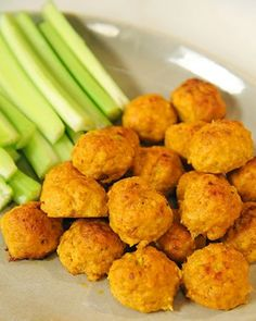 Mini Spicy Buffalo Chicken Balls with Blue Cheese and Hot Sauce Recipe