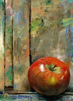 An Apple on the Easel, Nigel Fletcher 2014 - / - A beautiful still life, simple and yet delicately painted. Painting Still Life, Still Life Art, Paintings I Love, Apple Painting, Fruit Painting, Painting Canvas, Watercolor Fruit, Apple Art, Fruit Art
