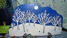 painting on slate Painted Slate, Painted Stones, Stone Painting, Rock Painting, Slate Art, Winter Landscape, Winter Scenes, Pebble Art, Rock Art