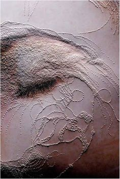 Textile Art 344947652685534649 - Reminds me of my drawings where ribbon threads through the flesh of the faces. Note the relief for the eye lid. Textile Fiber Art, Textile Artists, Textiles, Collage Kunst, Design Textile, A Level Art, Fabric Manipulation, Embroidery Art, Portrait Embroidery