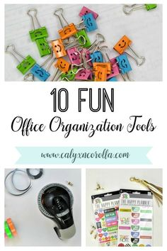 10 Fun Office Organization Tools - Calyx & Corolla Who says office organization tools have to be boring? Just say no to work space organization snooze-fests with these fun office organization Diy Organisation, Office Organization At Work, Organizing Paperwork, Planner Organization, Office Ideas, Organized Office, Fun Office Supplies, Organizing Ideas, Office Decor